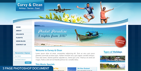 Curvy and Clean Travel - 3 page photoshop  - Travel Retail