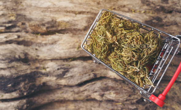 dried cannabis medical marijuana in trolley - Stock Photo - Images