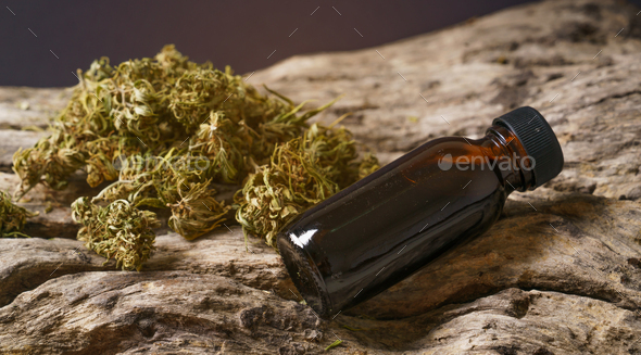 dried  medical marijuana with CBD and THC extract - Stock Photo - Images