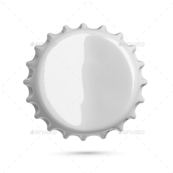 Bended gray metal soda or beer crown cap isolated on white background. - Stock Photo - Images