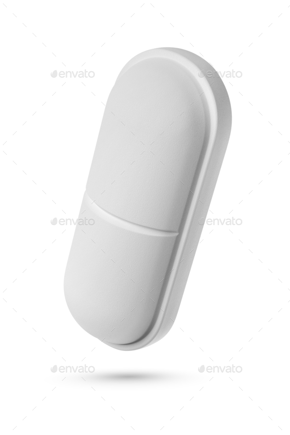 One oblong shape medical pill isolated on white background. - Stock Photo - Images