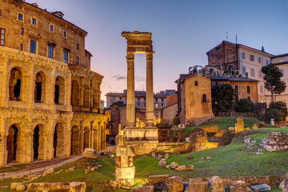 The Theatre of Marcellus and the Temple of Apollo Sosianus - Stock Photo - Images