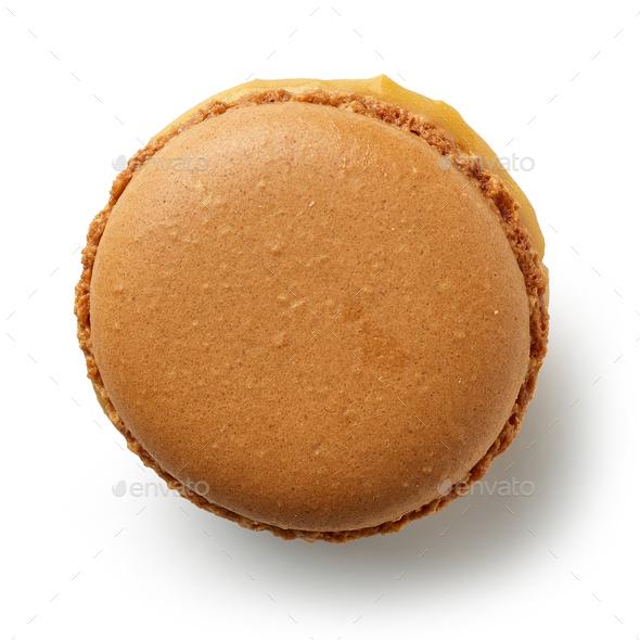 caramel macaroon on a white background - Stock Photo - Images