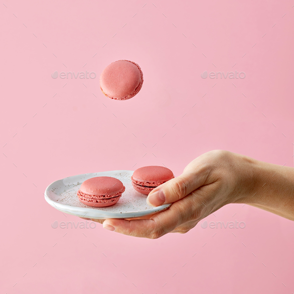 plate of macaroons - Stock Photo - Images