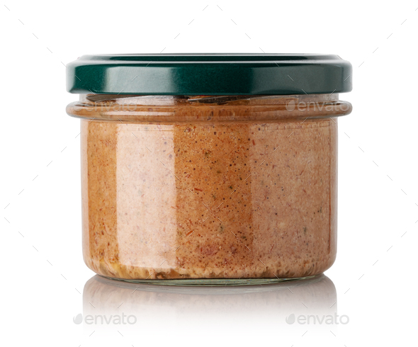 meat Pate in glass jar - Stock Photo - Images