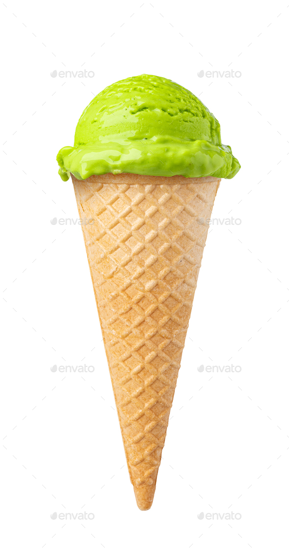 ice cream waffle cone on white background - Stock Photo - Images