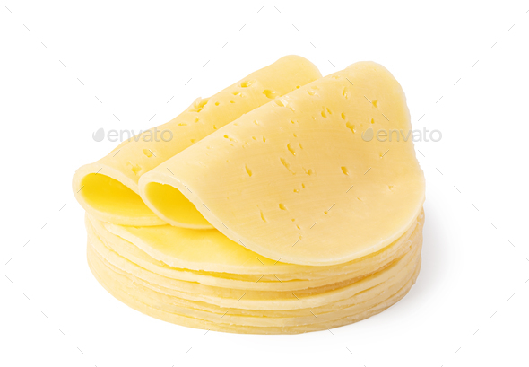 cheese slice on a white background - Stock Photo - Images