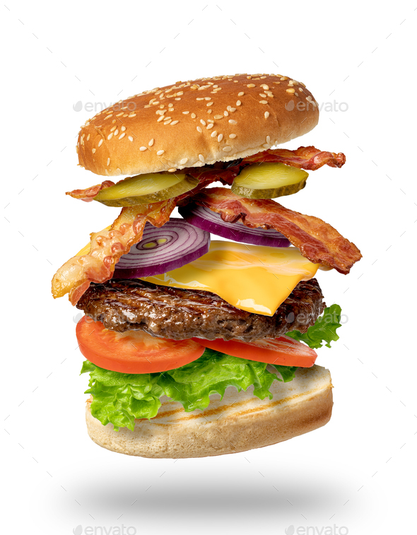 Flying burger on a white background - Stock Photo - Images