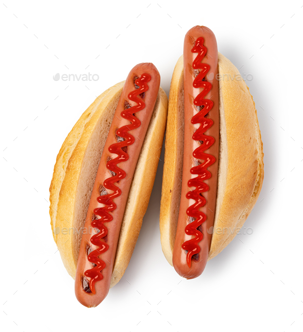 Hot dog with ketchup on white - Stock Photo - Images