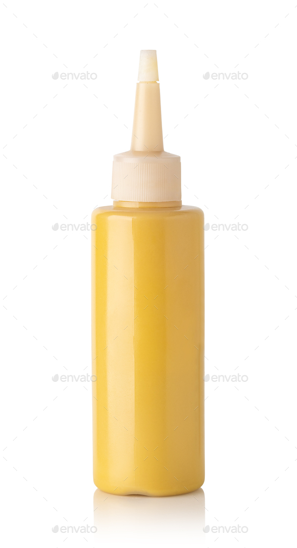Mustard bottle on a white background - Stock Photo - Images