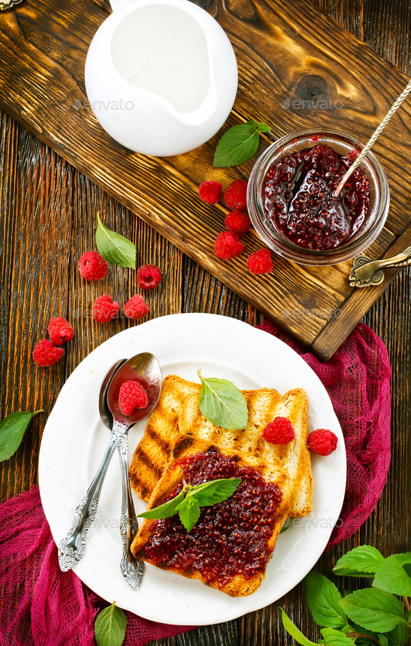 pancakes with jam - Stock Photo - Images