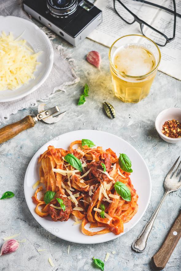 Pasta with mini meatballs - Stock Photo - Images