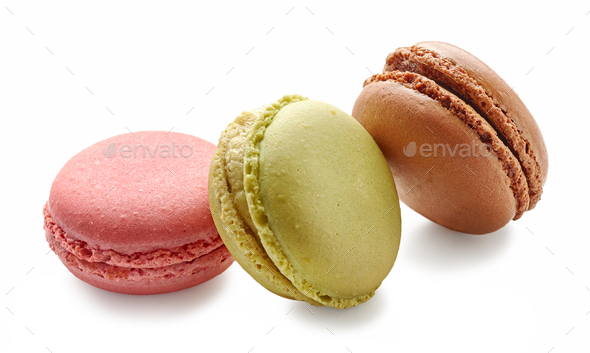 various macaroons on white background - Stock Photo - Images