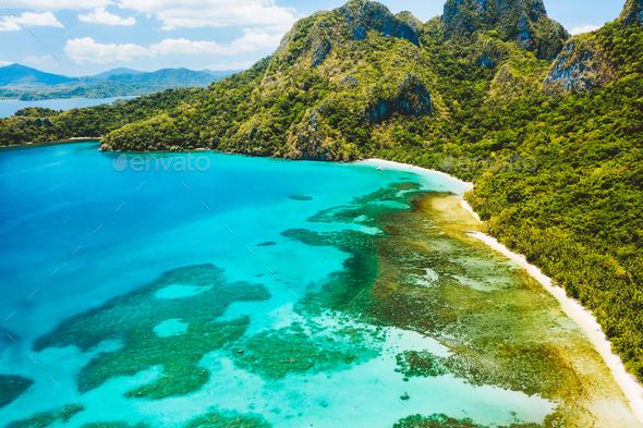Cadlao lagoon, El Nido, Palawan Island, Philippine. Aerial drone view of a tropical island coastline - Stock Photo - Images