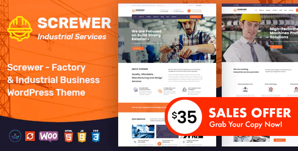 Nice Screwer - Factory and Industrial WordPress Theme
