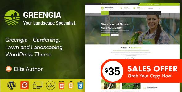 Greengia - Gardening, Lawn and Landscaping WordPress Theme
