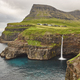 Waterfall and cliffs on Vagar. Faroe Islands dramatic coastline. Gasaladur - PhotoDune Item for Sale
