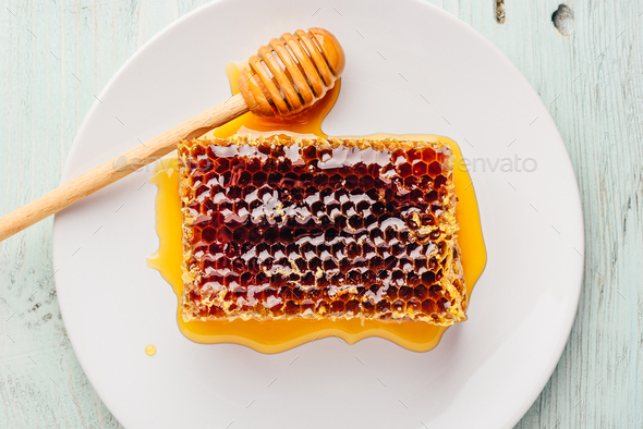 Honeycomb on white plate with honey dipper - Stock Photo - Images