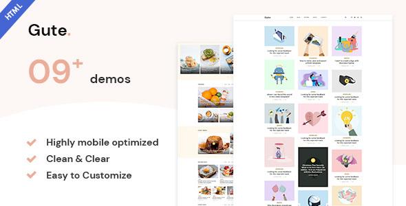 Marvelous Gute | Minimalist Blog HTML5 Template
