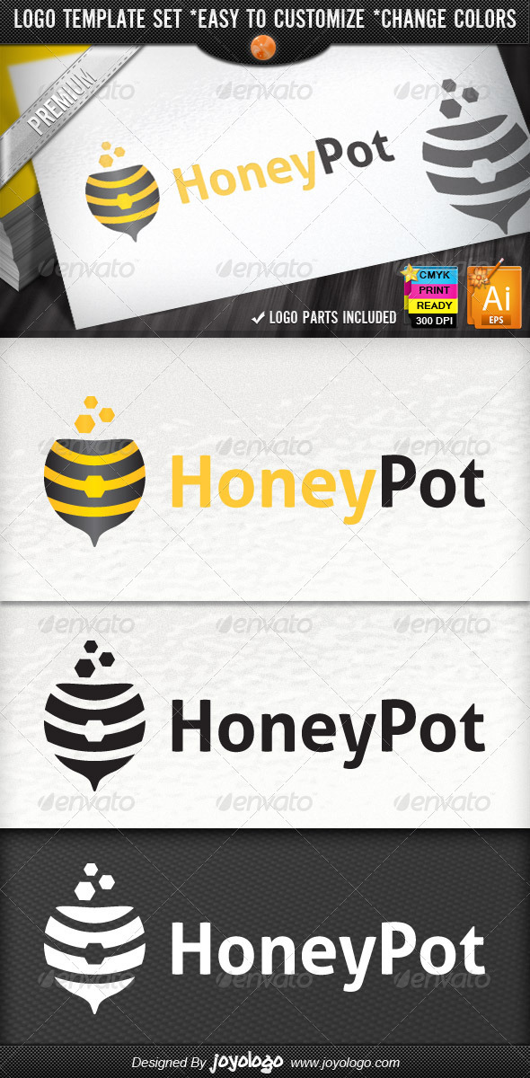 Honeypot Magic Bowl Honey Bee Shop Logo Design - Objects Logo Templates