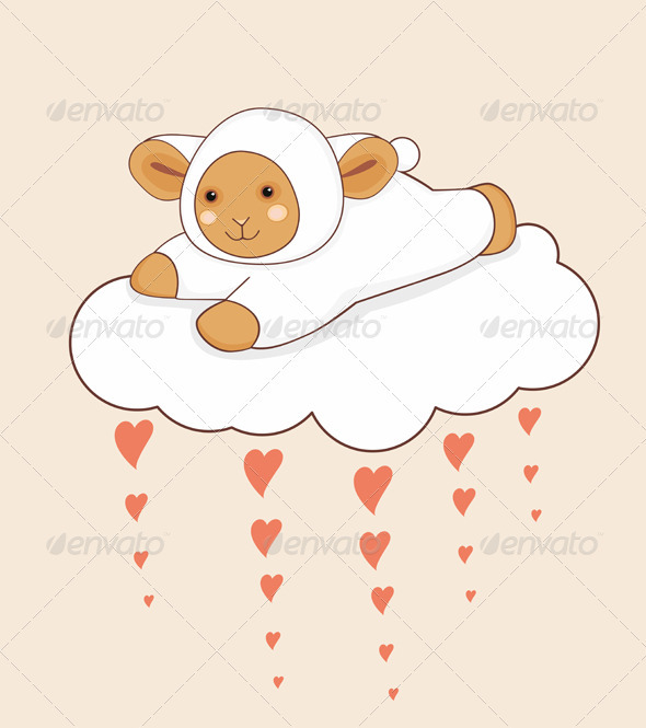 Lamb Cloud Heart - Animals Characters
