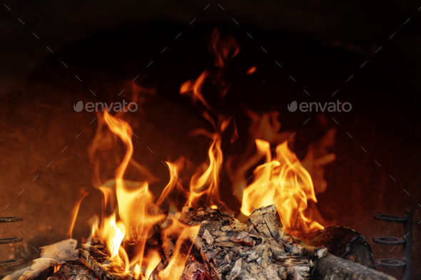 Barbecue grill flames - Stock Photo - Images