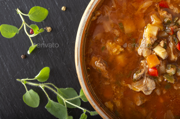 Eastern Europe  traditional sour soup or borsch - Stock Photo - Images