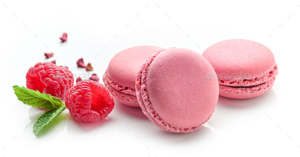 pink raspberry macaroons - Stock Photo - Images