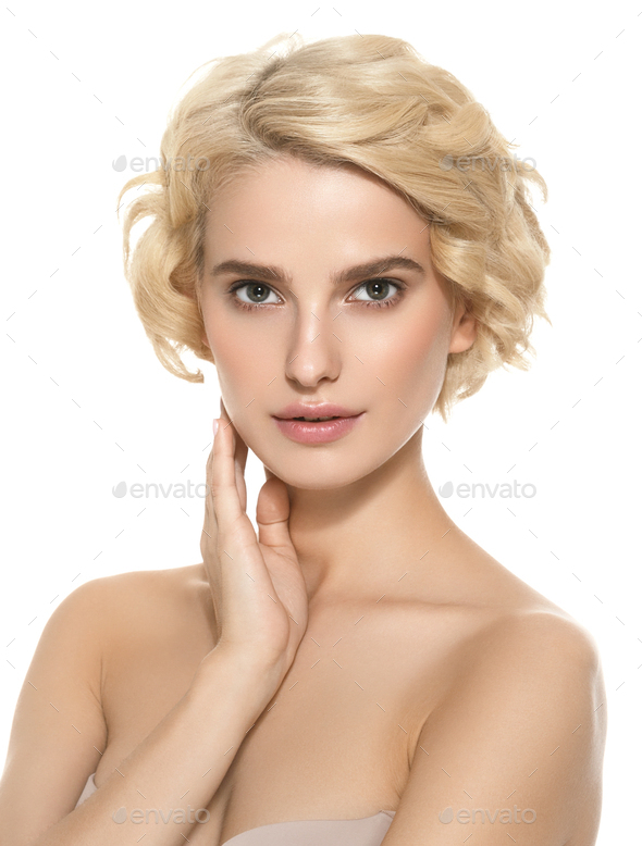 Short Curly Hair Woman Blond Hairstyle Natural makeUp. Studio shot. - Stock Photo - Images