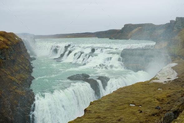 Iceland waterfall Gullfoss - Stock Photo - Images