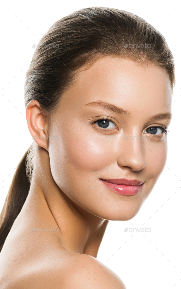 Skin care woman beauty natural make up. Close up view. - Stock Photo - Images