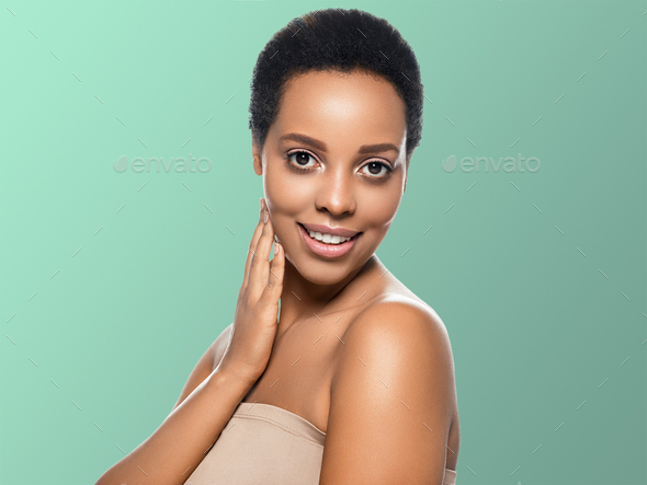 Black skin beauty woman healthy hair skin close afro american beautiful model. On blue. With hands. - Stock Photo - Images
