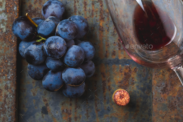 Wine concept - wine, grape on rustik dark background. Top wiew - Stock Photo - Images