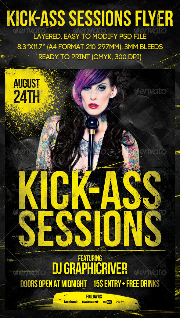 Kick-Ass Sessions Flyer - Events Flyers