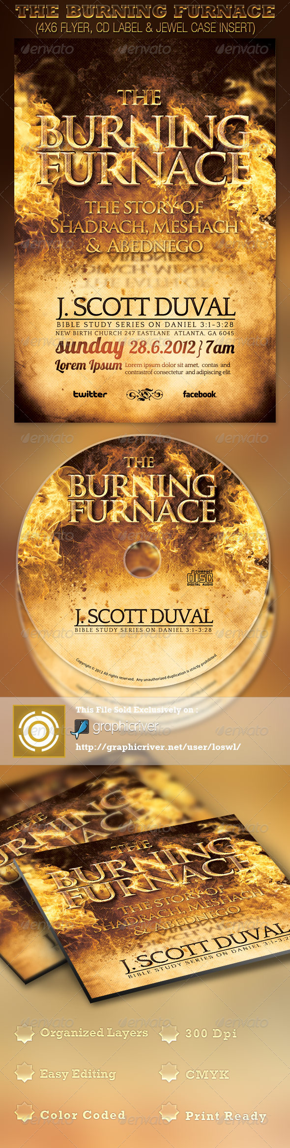 The Burning Furnace Church Flyer and CD Template - Church Flyers