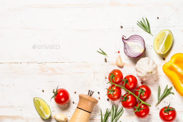 Food cooking background on white wooden table - Stock Photo - Images