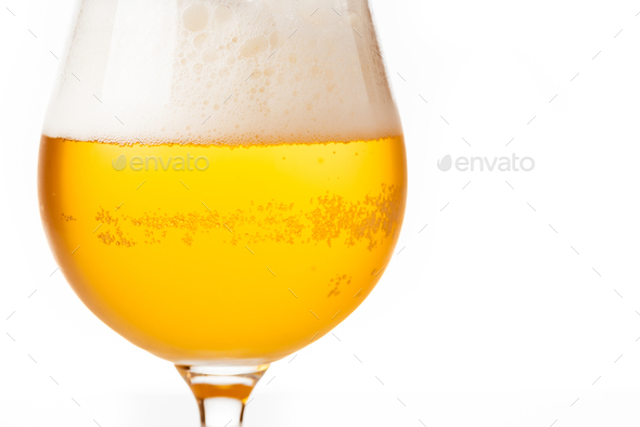 Glass of beer on white background - Stock Photo - Images