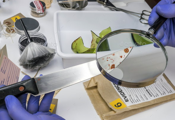 Expert Police examining with magnifying glass a knife with blood at the scene of a crime - Stock Photo - Images