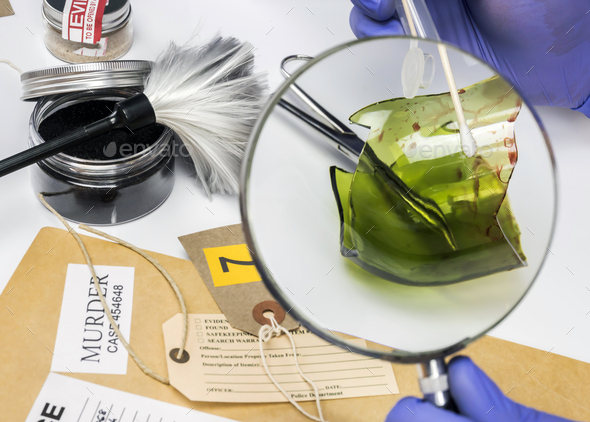 Police expert gets blood sample from a broken glass bottle in Criminalistic Lab, conceptual image - Stock Photo - Images