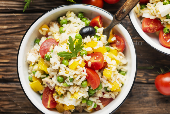 Cold summer salad with rice - Stock Photo - Images