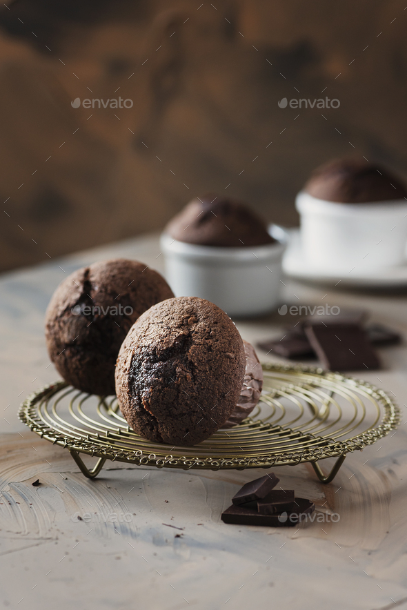 Sweet muffins with chocolate - Stock Photo - Images