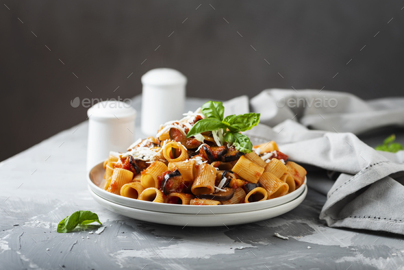 Traditional Italian dish pasta alla norma - Stock Photo - Images