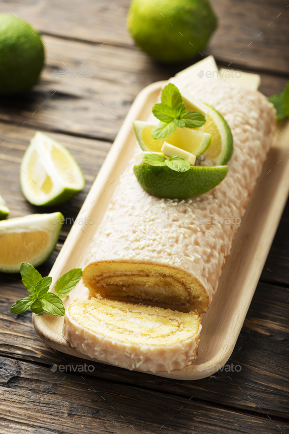 Cake roll with lime and white chocolate - Stock Photo - Images