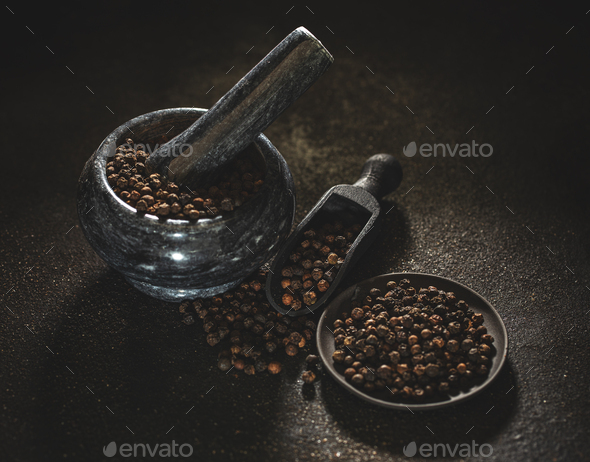 Dried black peppercorns - Stock Photo - Images