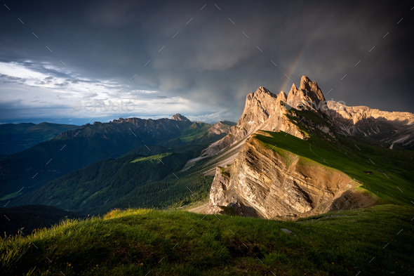 Seceda mountain peaks with rainbow,Suoth Tyrol, Dolomites, Italy,Europe - Stock Photo - Images