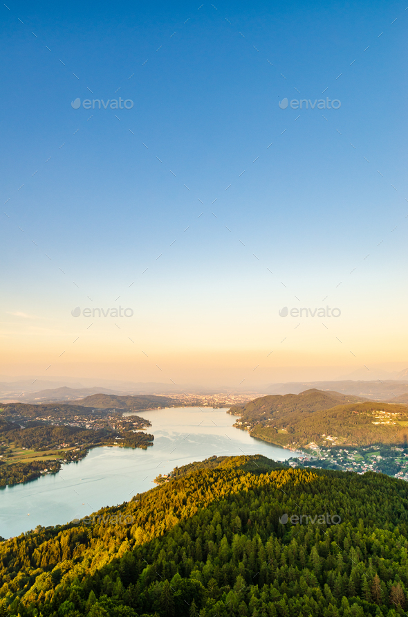 Lake and mountains at Worthersee Karnten Austria tourist spot - Stock Photo - Images