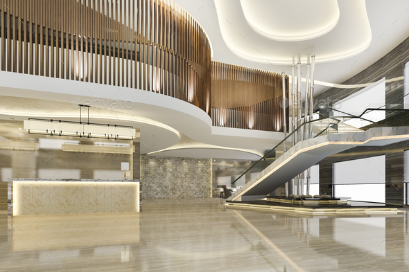 3d rendering grand luxury hotel reception hall entrance and lounge restaurant with stair - Stock Photo - Images