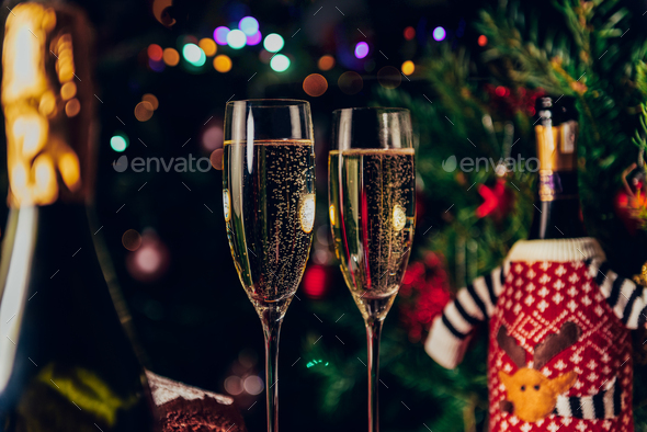 Xmas or New Year Party with champagne - Stock Photo - Images