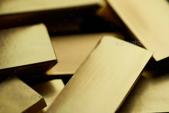 Close-up view of the golden bricks - Stock Photo - Images