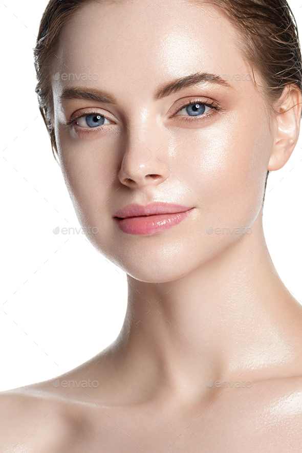 Beautiful skin and healthy hair woman clean natural makeup isolated on white cosmetic concept - Stock Photo - Images